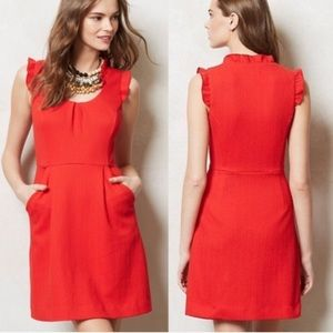 Anthropologie Tabitha Teahouse Red Textured Dress